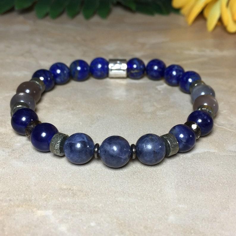 Gray Moonstone Bracelet Lapis Lazuli Bracelet Genuine Sapphire Bracelet Libra Zodiac Gemstone Bracelet Astrology Bracelet,Zodiac Jewelry