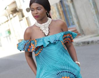 Off Shoulder Ankara Dres/ African Print Bardot Style Dress/African Mini Dress /African clothing /Nkruwa Torquoise