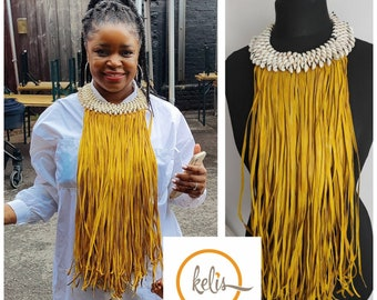 Cowrie Shell and Leather Tassel Necklace