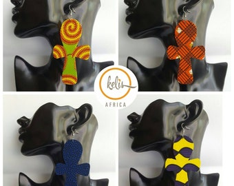 Price Slash!!SALE!!!/Ankara Ankh Earrings / African Print Earrings /Handmade Earrings / African earrings