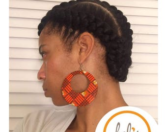 PRICE SLASH!! /Ankara Earrings / African Print Earrings /Handmade Earrings / African earrings/ Clip-Ons & Pierced/hoops
