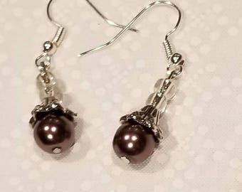 Bronze pearl drop earrings