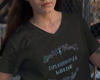 Dysautonomia Warrior Half Wreath Adult VNeck Shirt