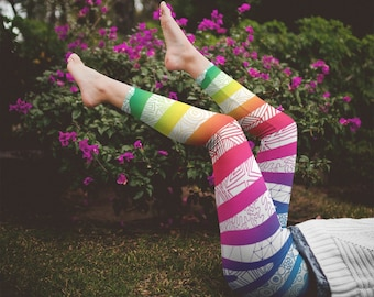 White Rainbow Zebra Zentangle Striped Leggings