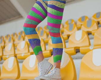 Rainbow Zebra Zentangle Striped Leggings