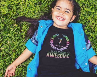 Birthday/Years of Being Awesome Kids Shirt - YOUR COLOR SHIRT