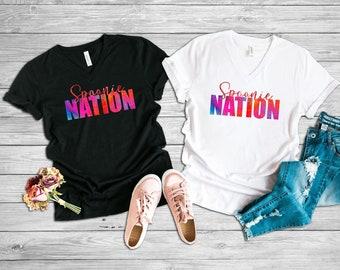 Spoonie Nation (Red) Adult VNeck Shirt