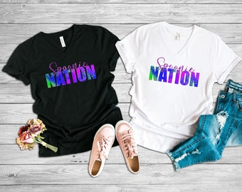 Spoonie Nation (Purple) Adult VNeck Shirt