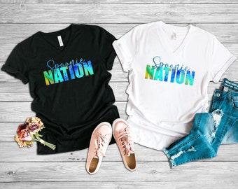Spoonie Nation (Blue) Adult VNeck Shirt