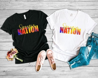 Spoonie Nation (Yellow) Adult VNeck Shirt