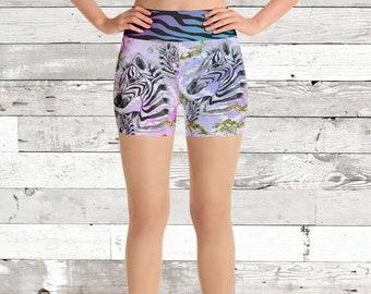 Pink/Purple Zebra Aztec Yoga Shorts