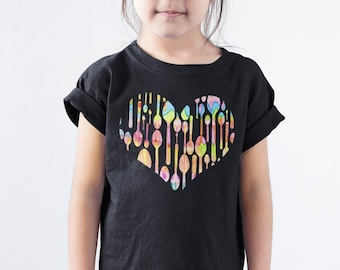 Painted Spoons Heart Kids Shirt - YOUR COLOR SHIRT