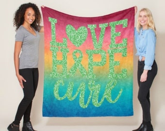 Love Hope Cure Whimsical Hearts (Green) Blanket *