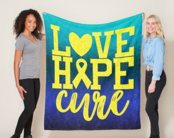 Love Hope Cure Whimsical Hearts (Yellow) Blanket *