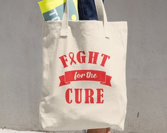 Fight For The Cure Red Ribbon Tote Bag