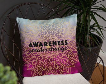 Blue Pink Tone Awareness Mandala Two Sided Pillow Case with Stuffing