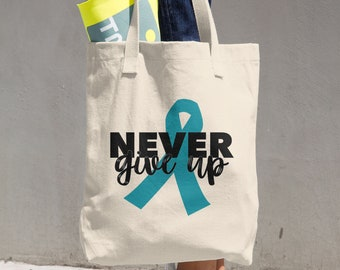 Never Give Up Turquoise Ribbon Tote Bag