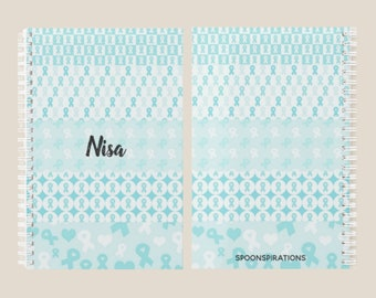 Turquoise Ribbons Personalized Name Planner *