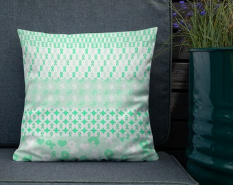 Green Ribbons on Ribbons Twosided Pillow Case with Stuffing