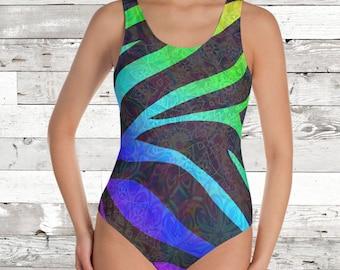 Zebra Stripes Mandala One Piece Bathing Suit/Body Suit