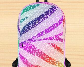 Whimsical Ribbon Stripes Backpack