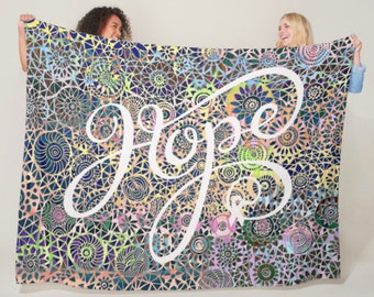 Hope Ribbon Floral Circles Blanket *