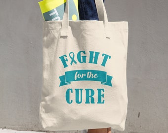 Fight For The Cure Turquoise Ribbon Tote Bag