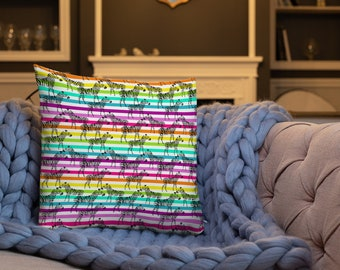 Rainbow Patterned Zebras Twosided Pillow Case with Stuffing