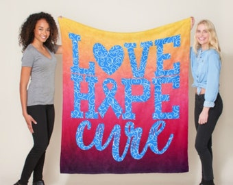 Love Hope Cure Whimsical Hearts (Blue) Blanket *