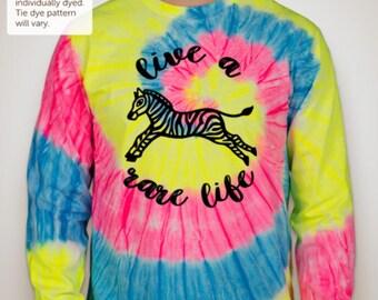 Live A Rare Life Tie Dye Long Sleeve - PICK COLOR