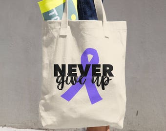 Never Give Up Purple Ribbon Tote Bag