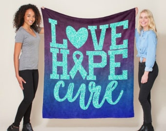 Love Hope Cure Whimsical Hearts (Teal) Blanket *