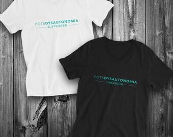 POTS Dysautonomia Warrior/Supporter Adult VNeck Shirt - YOUR OPTIONS