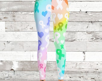 Rainbow Awareness Ribbon Leggings