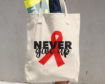 Never Give Up Red Ribbon Tote Bag