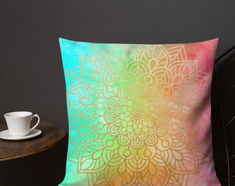 Bright Vertical Awareness Mandala Two Sided Pillow Case ONLY