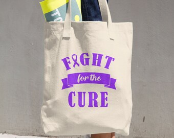 Fight For The Cure Purple Ribbon Tote Bag