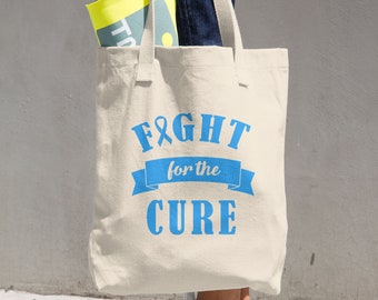 Fight For The Cure Blue Ribbon Tote Bag