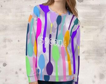 All Over Print Spoonie Heart Bokeh Sweatshirt