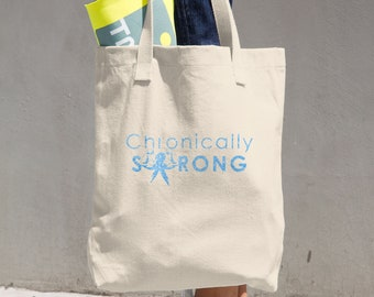 Chronically Strong Blue Glitter Print Tote Bag