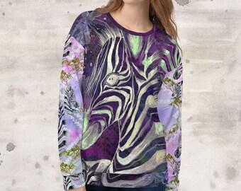 All Over Print Purple Aztec Zebras Sweatshirt