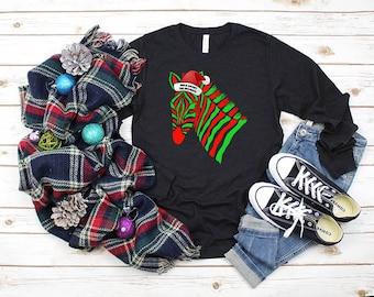 Wild About The Holidays Santa Zebra Adult Longsleeve Shirt
