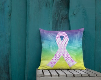 Pink Ribbons on Ribbons Two Sided Pillow Case ONLY