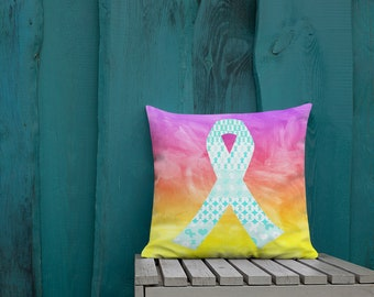Turquoise Ribbons on Ribbons Two Sided Pillow Case ONLY