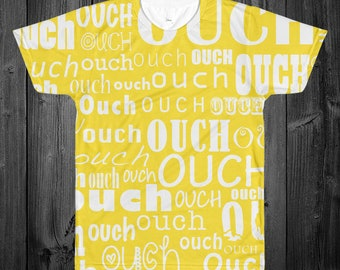 Ouch Allover Print Adult Shirt/Yellow
