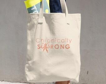 Chronically Strong Orange Glitter Print Tote Bag