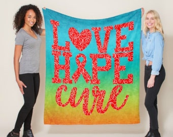 Love Hope Cure Whimsical Hearts (Red) Blanket *