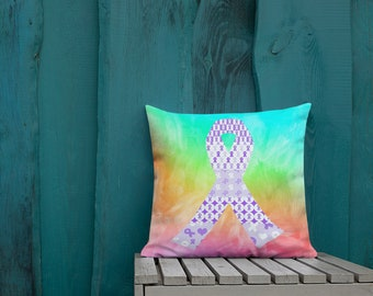 Purple Ribbons on Ribbons Two Sided Pillow Case ONLY