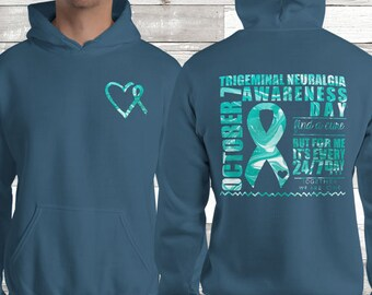 October 7th Trigeminal Neuralgia WARRIOR Awareness Day Marble Hoodie