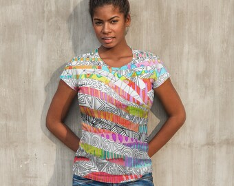 Zebra Stripes Paint Zentangle All-Over Print Shirt